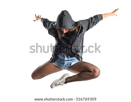 Teenager hip-hop dancer jumping - stock photo