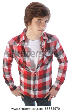 Teenager in casual plaid shirt - stock photo