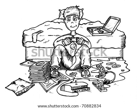 bedroom clipart black and white. teenager in messy bedroom playing video games clipart black and white