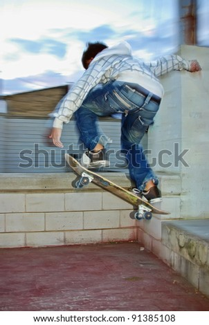 Teenager jumping with an skate board in a park - stock photo