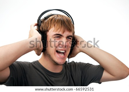 Teenager listening to loud Music
