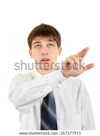 Teenager Pointing Isolated on the White Background - stock photo