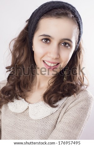 Teenager Portrait on White Background