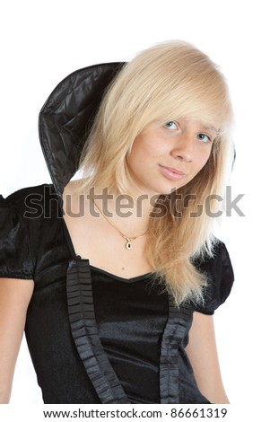 teenager princess girl in black velvet dress