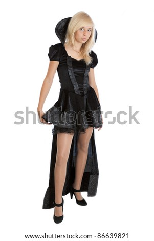 teenager princess girl in long black velvet dress