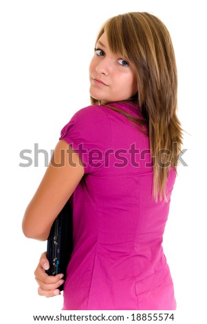 Teenager schoolgirl with laptop on white background