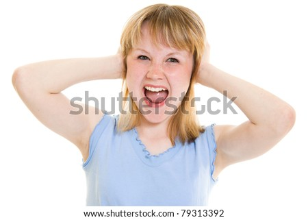 Teenager screams on a white background. - stock photo