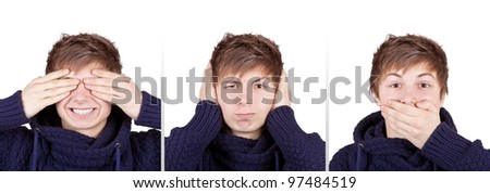 Teenager shows three wise monkeys concept - stock photo