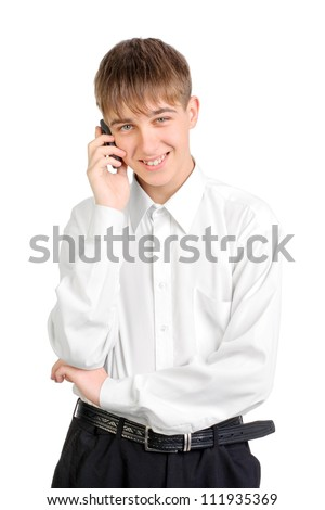 teenager speaking by mobile phone isolated on the white background - stock photo