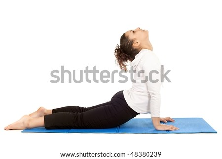 teenager stretching body on exercise mat isolated on white