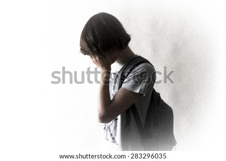 Teenager student carrying his schoolbag. - stock photo