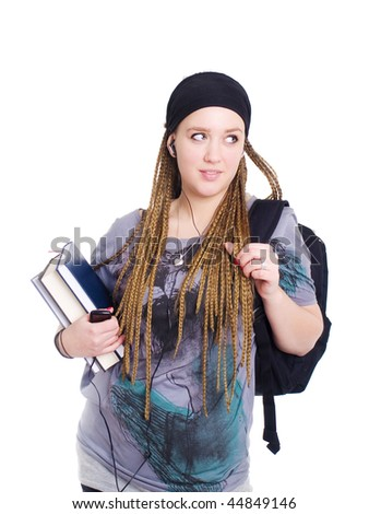 teenager student holding backpack, books and looking on left