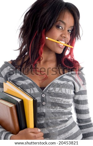 teenager student holding her study books with white background - stock photo