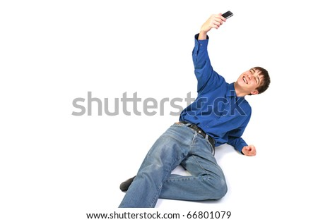 teenager take a photo on mobile phone - stock photo