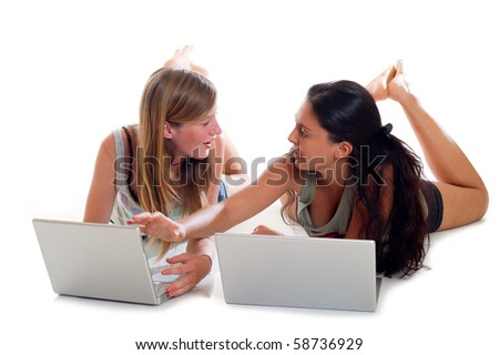 teenager talking with notebook - stock photo