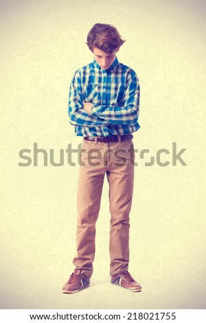teenager thoughtful gesture - stock photo