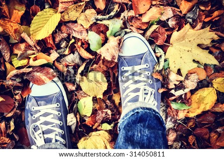 Teenager walking in autumn park - stock photo