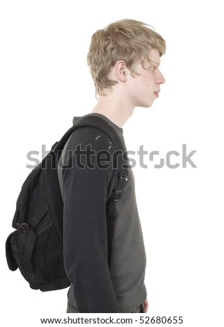 teenager with a backpack - stock photo