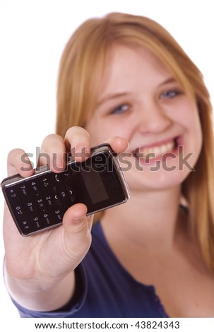 Teenager with a cell phone - stock photo