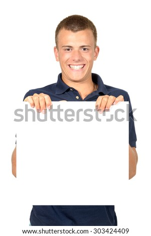 Teenager with a white board isolated in white - stock photo