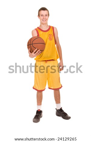 teenager with basketball. over white background - stock photo