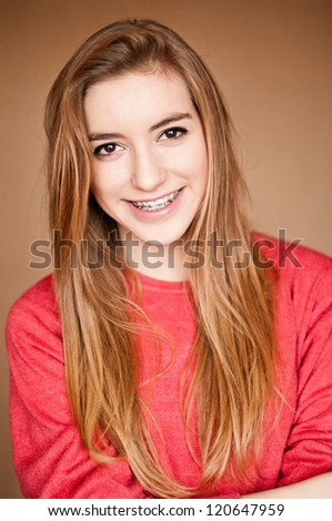 teenager with braces - stock photo