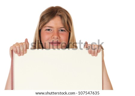 Teenager  with drawing block in front of a white background - stock photo