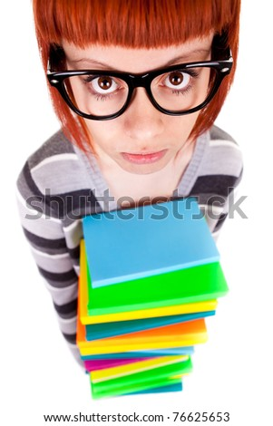 teenager with glasses and book, isolated on white background,