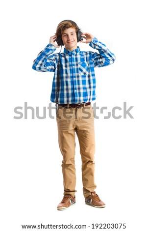 teenager with headphones - stock photo