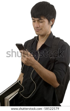 Teenager with mobile telephone - stock photo
