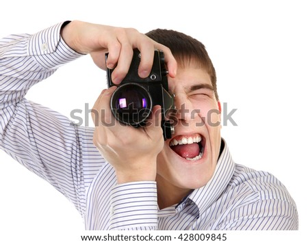 Teenager with Vintage Photo Camera Isolated on the White Background - stock photo