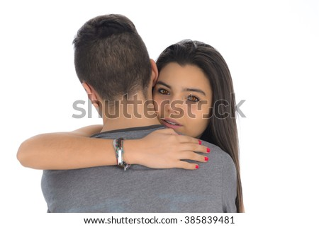 Teenager woman embracing for the first time the boy she likes - stock photo