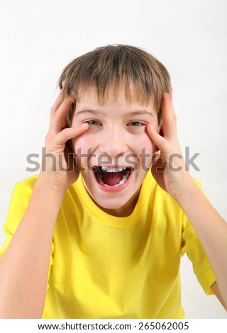 Teenager Yell on the White Background - stock photo