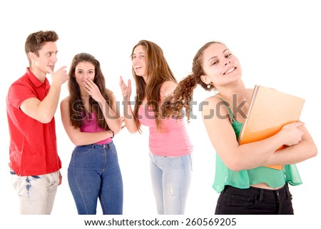 teenagers bullying a girl isolated in white background - stock photo