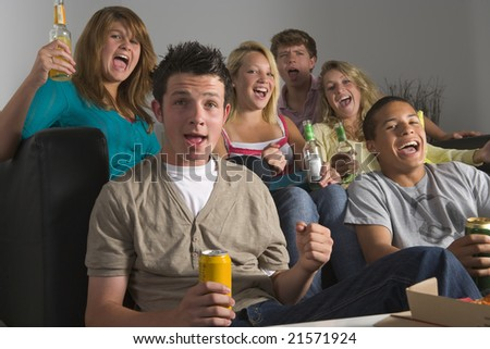 Teenagers Enjoying Drinks Together - stock photo
