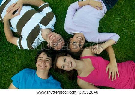Teenagers from above - stock photo