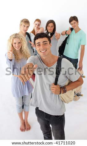 Teenagers going through the high school against wite background - stock photo