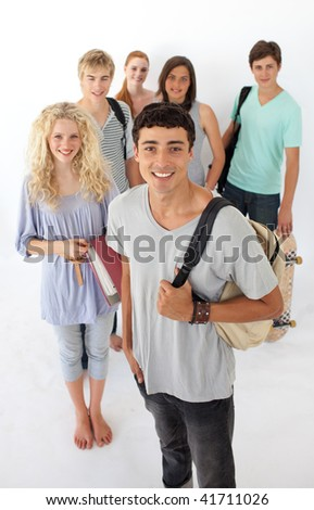 Teenagers going through the high school against wite background