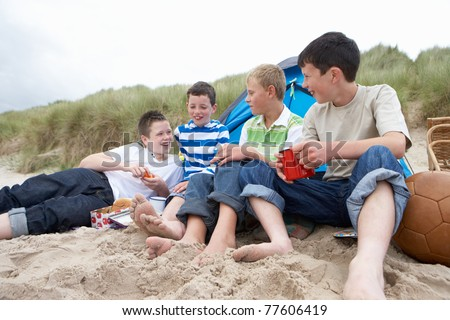 Teenagers having picnic