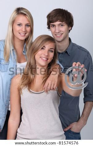 teenagers holding - stock photo