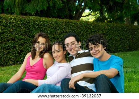Teenagers in nature - stock photo