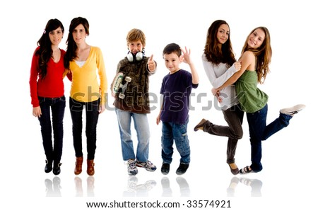 Teenagers on white backgroound - stock photo