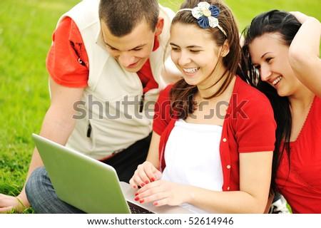 Teenagers outdoor, beautiful scene - stock photo
