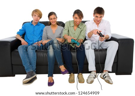 teenagers playing with playstation - stock photo