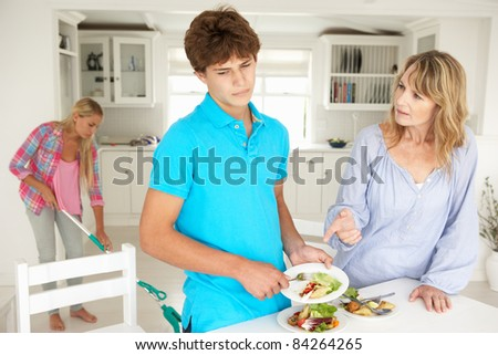 Teenagers reluctant to do housework - stock photo