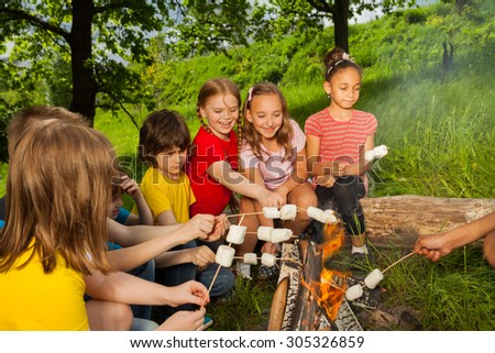 Teenagers sitting near bonfire with marshmallow - stock photo