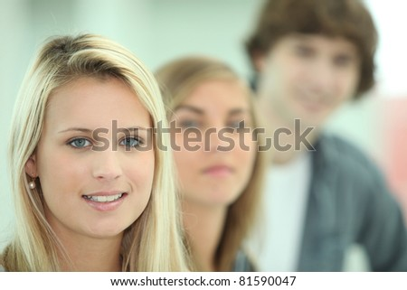 Teenagers smiling - stock photo