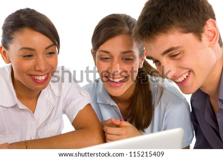 teenagers using laptop - stock photo