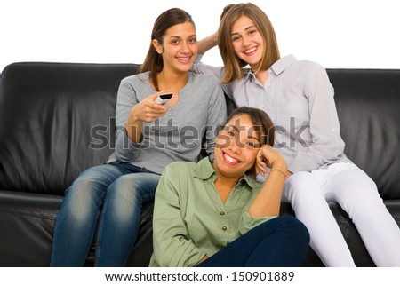 teenagers watching tv - stock photo