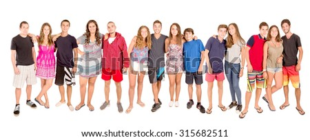 teenagers with beach clothes isolated in white - stock photo